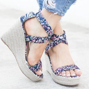 Qupid Floral Woven Criss Cross Espadrille Wedges